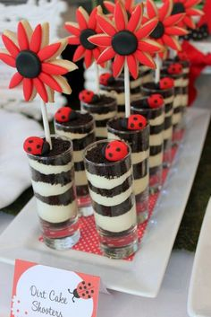 Ladybug party - dirt cake shooters with flower cookie pops Dessert Party, Snacks Für Party, Dirt Dessert, Dessert Ideas, Snacks Kids, Party Favors, Birthday Fun, First Birthday Parties, Birthday Party Themes