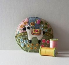 Handmade Spring Lamb Felted Wool Embroidered Crazy Patch Pincushion