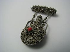 STERLING SILVER FILIGREE SENT/PERFUME BOTTLE PIN BROOCH w/CORAL Palestine c1940s | eBay