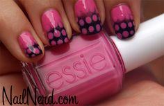 Nail Nerd (nail art for nerds) Gradient Nails, Toe Nails, Pink Black Nails, August Nails, Polka Dot Nails, Polka Dots, Nails Only, Chic Nails, Nail Polish Colors