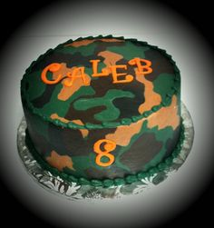 I love how this is the kind I cake Caleb wants for his birthday this year and this cake has his name and the same year that he is turning. Guess it is meant to be :) Camouflage Birthday Party, Hunting Birthday Cakes, Camouflage Cake, Hunting Cakes, Camo Party, 9th Birthday Parties, Kid Parties, Boy Birthday, Birthday Ideas
