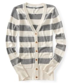 Rugby Stripe Cardigan - Aeropostale    I don't know if I could rock stripes, but I deff like this cardigan better(: