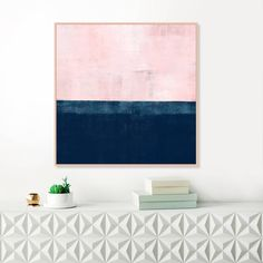 Pink and Navy Blue Abstract Art Pink Wall Art Pink Painting Pink Painting, Large Painting, Blue Abstract, Abstract Print, Abstract Paintings, Art Paintings, Pink Wall Art, Large Wall Art, Art Techniques