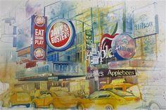 "Concha Osuna, ""New York 1"" | Watercolor on Paper | $4,500 | Source: http://www.art-mine.com/artistpage/concha_osuna.aspx | Agora Gallery | Contemporary Fine Art | NYC, NY."