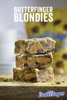 Do blondies really have more fun? These beauties sure do. Featuring a medley of peanut butter, chocolate, butterscotch and the crispety, crunchety kick of Butterfinger, these treats are perfect for your next birthday party.