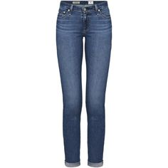 AG The Stilt Roll Up Cigarette Jean, 13 Years Solitude (19.670 RUB) ❤ liked on Polyvore featuring jeans, pants, bottoms, blue jeans, mid rise skinny jeans, skinny fit jeans, rolled up jeans and rolled up skinny jeans