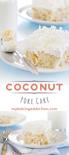 This Coconut Poke Cake combines white cake, cream of coconut, whipped topping, sweetened condensed milk, and flaked coconut . So good!