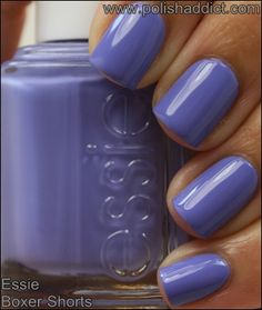 Essie-Boxer-Shorts - is a muted periwinkle creme. The real life shade is much less vibrant than this photo. Gorgeous Nails, Fabulous Nails, Essie Nail Polish Colors, Gel Polish, Acryl Nails, Pretty Nail Colors, Finger, Hot Nails, Stylish Nails