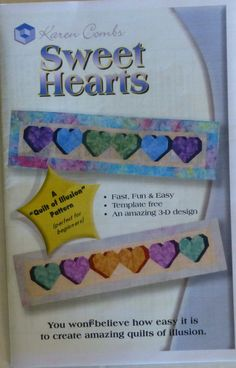 Pattern, Sweet Hearts by Karen Combs, Table Runner, Fun and Easy Technique, Fast Shipping PT256