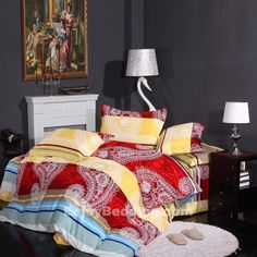 Anyone looking to redo the look of their bedroom should consider another graphic print from Western Bedding Sets. You can sink into your red and yellow bedding sets and enjoy a long nights rest. Classic stripe quilted for that comfortable casual lifestyle. The paisley bedding sets complements romantic style decor perfectly.