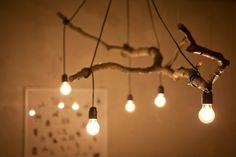 Natural Tree Branch And String Light Chandelier is part of Wood diy - Perfect tree branch chandelier for your modern farmhouse lighting, living room, rustic, simple with nice light bulbs! Chandelier, Diy Decor, Decor Project, Diy Lighting, Bulb, Branch Chandelier, Wooden Decor, Wood Diy, Lights