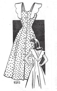 Late Beautiful Sun Dress Pattern Marian Martin 9293 Lovely V Sun Back… Dress Making Patterns, Vintage Dress Patterns, Clothing Patterns, Vintage Dresses, Vintage Outfits, 1940s Fashion, Fashion Sewing, Vintage Fashion, Sundress Pattern
