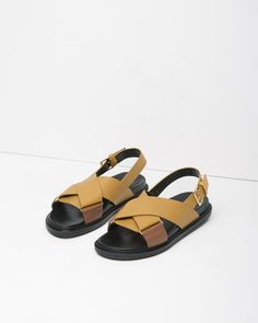 MARNI | Criss Cross Leather Fussbett Sandal | Shop at La Garçonne