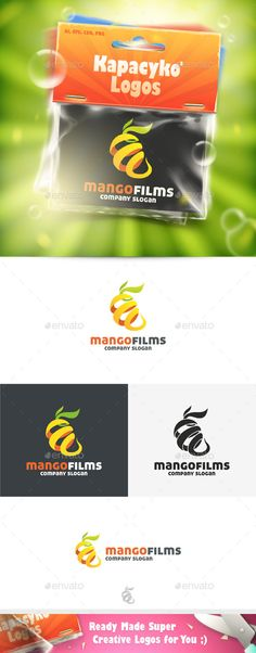 Mango Films  Logo Design Template Vector #logotype Download it here: http://graphicriver.net/item/mango-films-logo/11772867?s_rank=737?ref=nexion