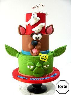 Character stack birthday cake featuring Yoda Scooby Doo and Ghostbusters #birthday #cake #yoda #starwars #scoobydoo #ghostbusters