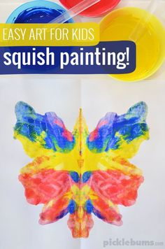"Art for Kids - Squish Painting A classic kid-art technique, ""squish"" painting creates beautiful, unique results that never get boring!A classic kid-art technique, ""squish"" painting creates beautiful, unique results that never get boring! Preschool Art Activities, Painting Activities, Preschool Art Projects, Therapy Activities, Summer Activities, Outdoor Activities, Easy Art Projects, Projects For Kids, Toddler Art Projects"