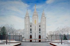 Winter Acrylic Painting of the Mormon Temple inSalt Lake City, Utah. Get it at Brian Sloan Artist! Or request another LDS temple! Utah Temples, Lds Temples, Slc Temple, Temple Square, Lds Art, Salt Lake City Utah, Acrylic Canvas, Painting Inspiration, Winter
