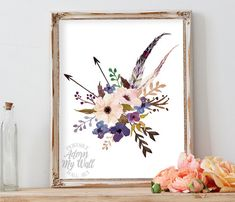 Floral print, printable, flower, feather, arrows, instant download, wall art, decor, boho, tribal, bouquet, 8x10, floral wall art