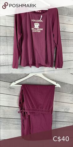 La Vie En Rose Set Long sleeve shirt. Pants are 3/4 and wide length. Intimates & Sleepwear Pajamas Plus Fashion, Fashion Tips, Fashion Trends, Long Sleeve Shirts, Pajamas, Sleeves, Sweaters, Pants, Closet