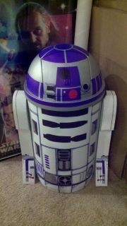 I turned our recycling bin into R2D2 so it would look better than having a garbage can sitting around.