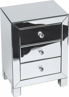Ave Six Reflections 3 Drawer Accent Table, REF173-SLV by Office Star Products by Office Star Products | BizChair.com