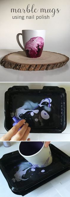 To make these gorgeous DIY Marble Mugs, all you need to do is pour nail polish into a container of warm water and dip your mug inside to create this cool design. It takes a little practice (and patience) to get the technique down but it's well worth the effort.