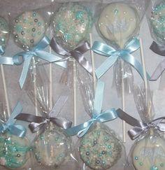 Beautiful Princess Oreo Pops ~ Wonderful Favors for a Winter Wonderland Theme Party ~ Visit Marie Grahams on Etsy.com