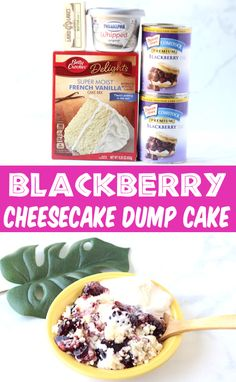 Blackberry Cobbler Recipe with Cream Cheese! Easy Cheesecake Dump Cakes make the BEST desserts... just a few minutes of prep time, 4 ingredients, and you've got an INCREDIBLE treat!  Go grab the recipe and give it a try this week!