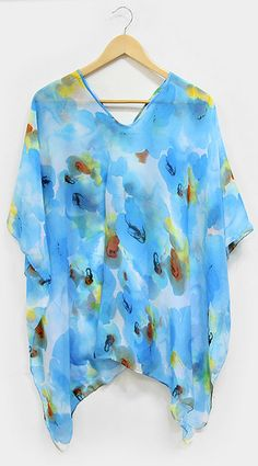 Chiffon Cover Up in Watercolor Blue