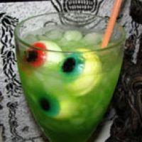 Ectoplasm- N- Eyeballs Hallowe'en Cocktail Recipe  Ingredients:  1 1/2 oz. Vodka  1/2 oz. Midori melon liqueur  1/2 oz. Blue Curacao  3 oz. Freshly squeeze orange juice  3 oz. Lemon-lime soda (like Sprite)  Instructions: Mix ingredients and serve over ice. Garnish with cold eyeballs . Makes 1 drink.