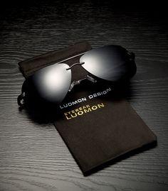 857eeb5fdf4 LUOMON Mens Polarized Aviator Sunglasses Metal Black Frame Grey Lens with  AlMg Aloy Temple LM007