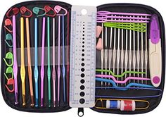 GYBest 49 Pieces Crochet Hooks Yarn Knitting Needles Sewing Tools Full Set Knit Gauge Scissors Stitch Holders with Purple Case * Read more  at the image link.Note:It is affiliate link to Amazon.