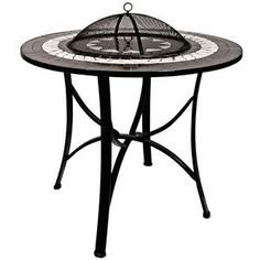 Amazing Garden Fire Bowl Lid Outdoor Firepit Mosaic Powder Coated Heater BBQ Charcoal