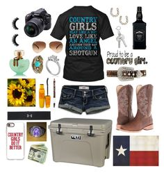 by pistols-n-pearls on Polyvore featuring polyvore, fashion, style, Hollister Co., Victoria's Secret PINK, Roper, Pamela Love, SSUR, Under Armour, Nocona, Ray-Ban, Maybelline, Reflective Art, Casetify, Nikon and clothing