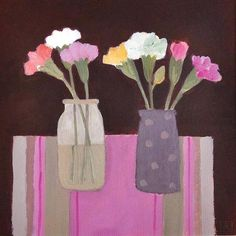 Pinks on a Striped Mat by Jill Leman, Fine Art Greeting Card, Acrylic on Board, Flowers in two vases
