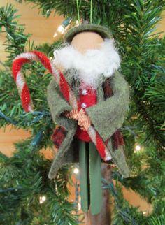 Santa Claus Christmas Ornament, Clothespin - Irish Santa