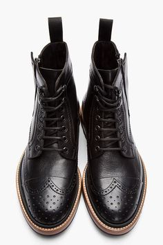 DIGDAGA — LANVIN Black Leather Brogue Boots