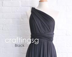 Bridesmaid Dress Infinity Dress Black Knee Length Wrap Convertible Dress Wedding Dress