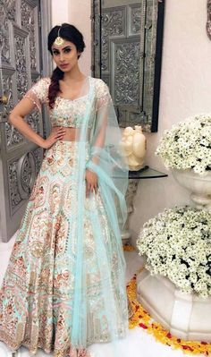 -Bridal Lehenga Store flawlessly modernise Indian costumes and patterns for the millenial Bride. Indian Bridal Fashion, Indian Wedding Outfits, Pakistani Outfits, Indian Weddings, Dress Wedding, Hindu Weddings, Lehenga Wedding, Wedding Bridesmaids, Wedding Bells