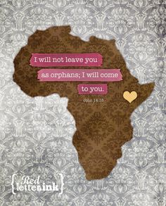 Adoption Wall Print - Africa (brown, yellow, pink/blue/green, gray)  John 14:18 - 8 x 10 Print. $20.00, via Etsy.