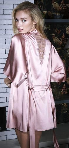 00bb5fa377 I love the icy cool look of this satin robe with a beautiful lace insert.