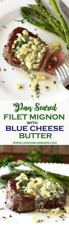 This Pan Seared Filet Mignon is incredibly tender, juicy, and super tasty. Smothered in flavorful Blue Cheese Butter for a melt in your mouth easy and affordable restaurant quality meal at home. #steak #dinner #filetmignon #easydinner #bluecheese #salemville