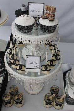 Hostess with the Mostess® - Runway/Catwalk Black & White Dessert Table