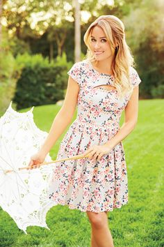 Lauren Conrad supporting a lovely floral inspired dress perfect for garden parties