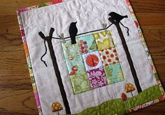 mini #quilt showing an even smaller quilt on a clothesline.