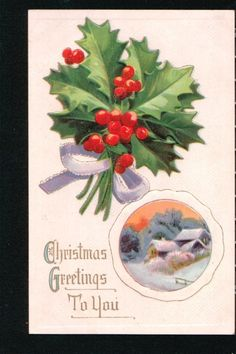 Holly Victorian Christmas Postcard