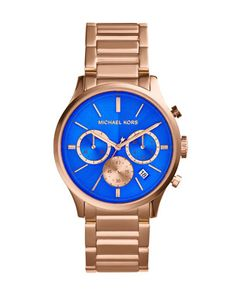Michael Kors Mid-Size Rose Golden/Cobalt Stainless Steel Bailey Chronograph Watch.