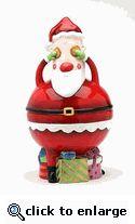 No Peeking Santa Cookie Jar, Cookies on Eyes, 11 Inches Tall