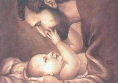 Beautiful image of St. Joseph and baby Jesus.