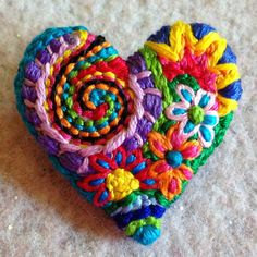 Freeform embroidery heart brooch bright floral  brooch 56 small
